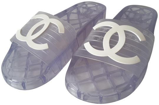 Chanel Transparent 19p Glossy Cc Logo Pool Mules/Slides Size EU 38 (Approx. US 8) Regular (M, B) - Tradesy