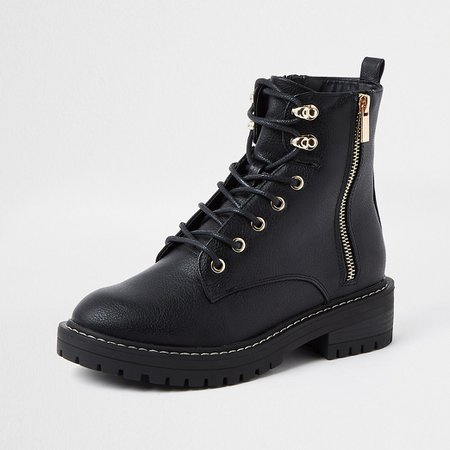 Black faux leather lace up chunky boots | River Island