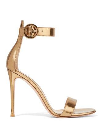 gianvito Rossi gold portofino 105 metallic sandals