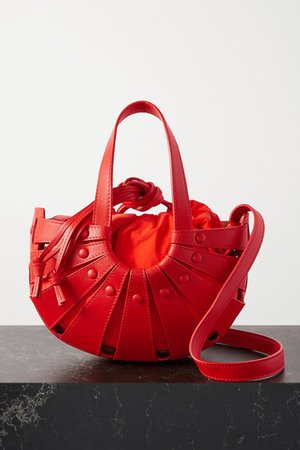 The Shell Small Leather Shoulder Bag - Red
