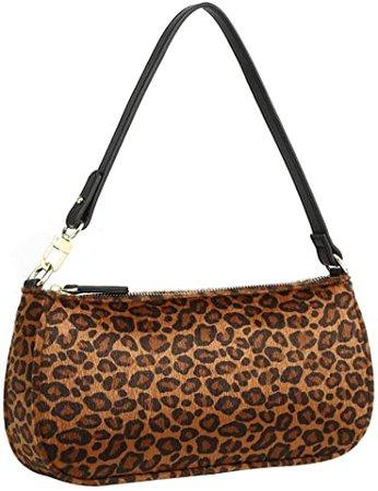 Amazon.com: Luxury Retro Shoulder Bag   90's Style Underarm Purse   Classic Small Handbag - PU Leather for Women (Leopard-brown): Shoes