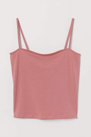 Cropped Jersey Camisole Top - Pink