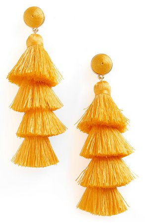 orange fringe tassel earrings