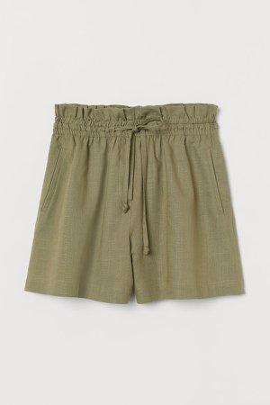 Linen-blend Shorts High Waist - Green