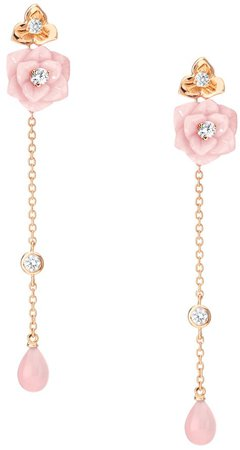 Piaget Rose earrings in rose gold, carved pink opal and diamonds