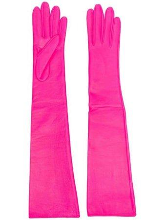 Manokhi long-length Leather pink Gloves - Farfetch