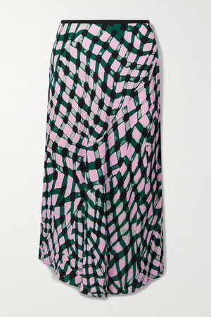 Mae Printed Crepe Midi Skirt - Pink