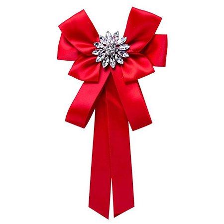 Amazon.com: Diamond-shaped bow ribbon diamond female fashion brooch (red): Gateway