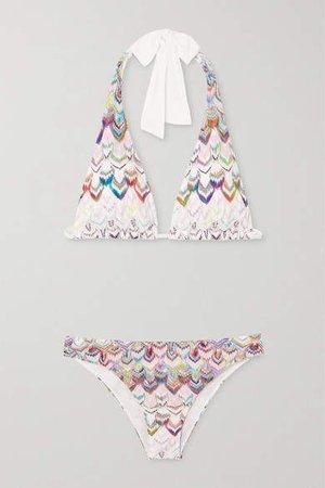 Crochet-knit Halterneck Bikini - White