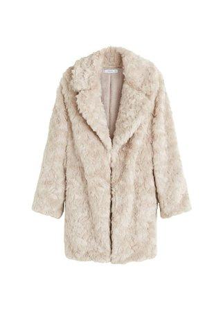 MANGO Lapels faux fur coat