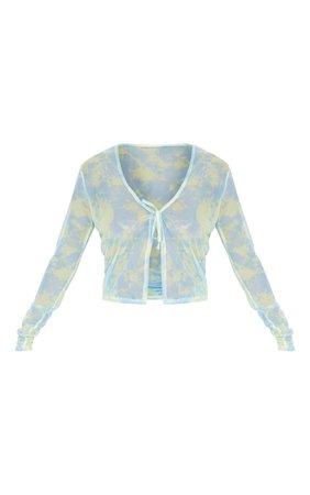 Blue Mesh Tie Dye Printed Tie Front Crop Top | PrettyLittleThing