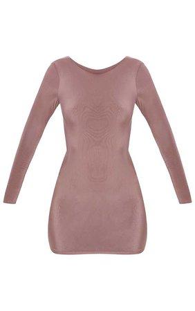 Dark Mauve Second Skin Slinky Scoop Back Bodycon Dress | PrettyLittleThing