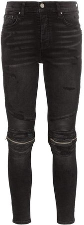 MX2 high-rise zip-detailed skinny jeans