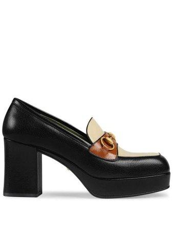 Black Gucci Leather Platform Loafer With Horsebit | Farfetch.com