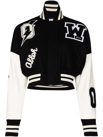 Shop black & white Off-White cropped varsity bomber jacket with Express Delivery - Farfetch