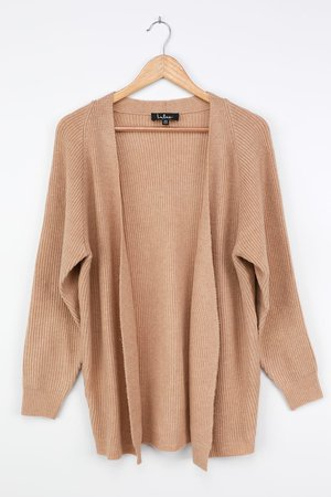 Cute Tan Cardigan - Ribbed Knit Cardigan - Open Front Cardigan