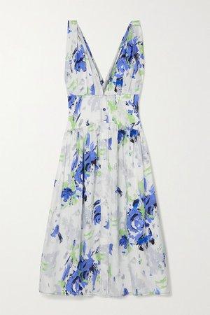 Floral-print Cotton-poplin Midi Dress - Blue