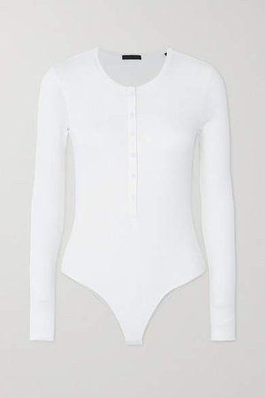 Ribbed Stretch-micro Modal Bodysuit - White