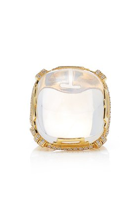Goshwara Rock-N-Roll' Moon Quartz Cushion Cabochon Ring