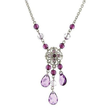 Silver-Tone Purple Chandelier Necklace