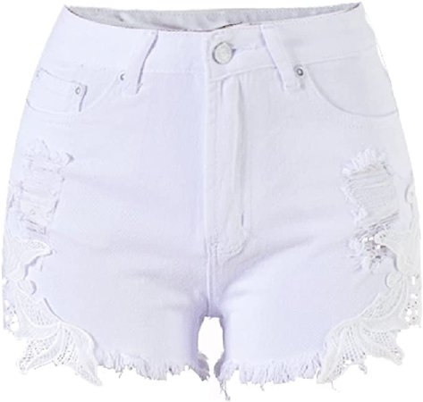 Allonly Women's White Sexy Cut Off Ripped High Waisted Slim Fit Denim Shorts with Lace Jean Shorts Hot Pants with Holes at Amazon Women's Clothing store