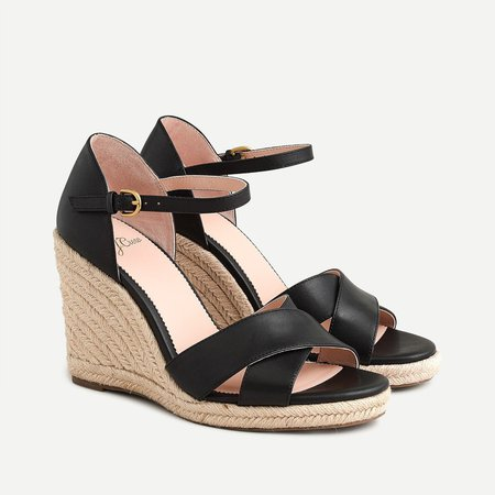 Jute wedge sandals in leather