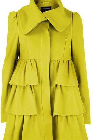 Dorothy Perkins Ruffle Coat. Chartreuse love!!! | {Baby it's Cold Outside} | Fashion, Fashion outfits, Sweater coats