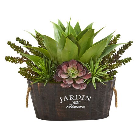 Succulent Garden in Wood Planter | Nearly Natural