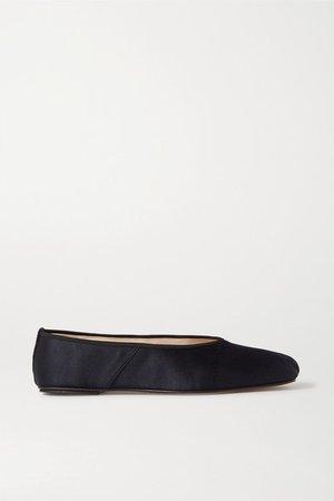 Satin Ballet Flats - Navy