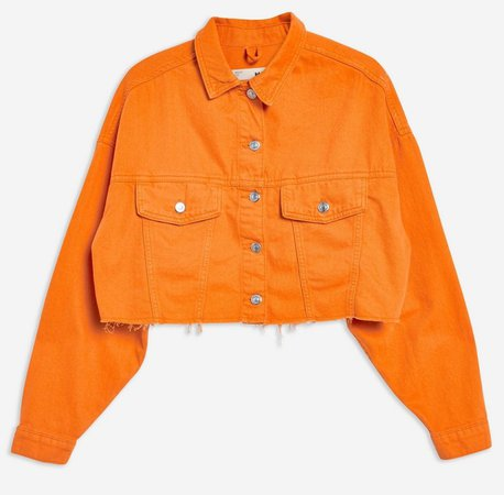 orange cropped denim jacket