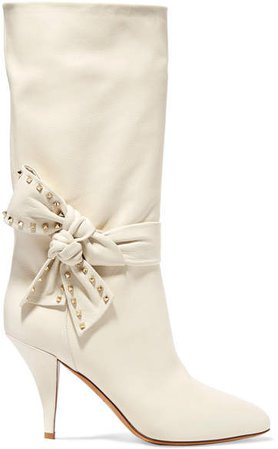 Garavani Embellished Leather Boots - Ivory