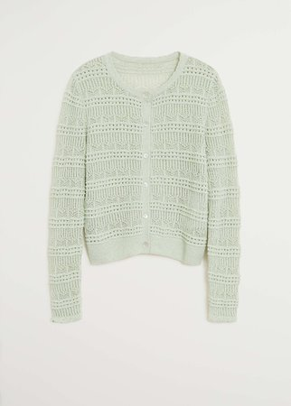 Openwork knit cardigan - Women | Mango USA green