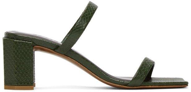 Green Croc Tanya Heeled Sandals