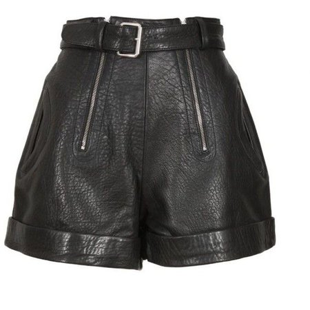 Carven Black Cracked Leather Shorts