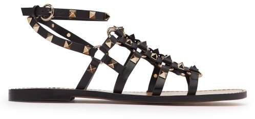 Rockstud Cage Leather Gladiator Sandals - Womens - Black