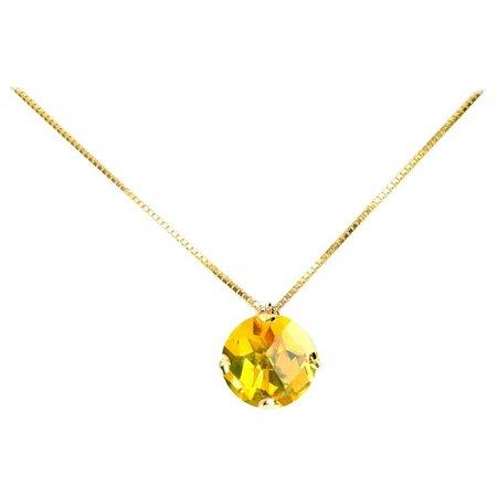 Fei Liu Citrine Yellow Gold Pendant Necklace