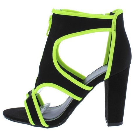 Mania52 Black Neon Yellow Front Zip Cut Out Tapered Heels Only $10.88 - Wholesale Fashion Shoes