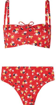 Tessa And Noelle Floral-print Bikini - Red