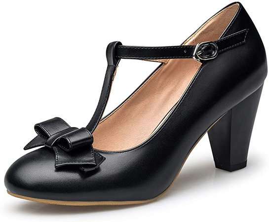 Amazon.com   Susanny Women's Chic Sweet Round Toe T-Strap Bows Adorable Buckle High Cone Heel Mary Janes Dress Pumps