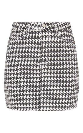 Monochrome Denim Houndstooth Check Denim Skirt | PrettyLittleThing USA