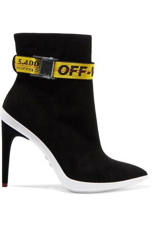 OFF-WHITE Ankle Boots With Adjustable Belt Straps in Llack Yell