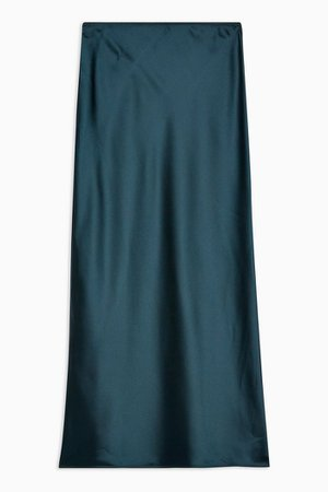 Teal Satin Bias Maxi Skirt | Topshop