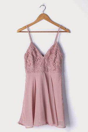 Mauve Pink Dress - Pink Skater Dress - Mini Skater Dress - Lulus