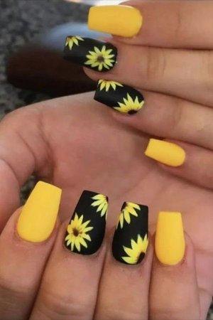 yellow sunflower 🌻 nails