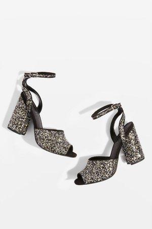 ROCKY Glitter Block Heel Sandals - Topshop USA