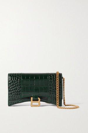 Hourglass Croc-effect Leather Shoulder Bag - Green