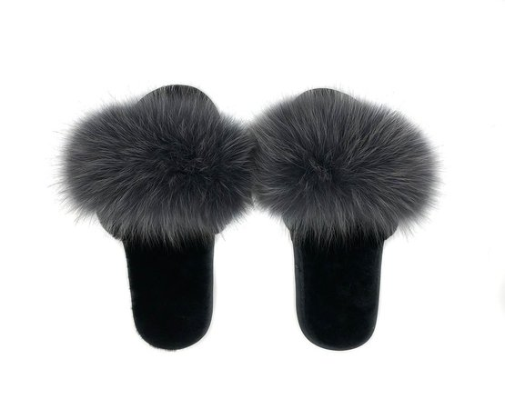Fur Slippers | Fox and Shearling Fur Slipper in Dark Grey — POLOGEORGIS 275$