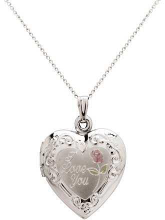 "Double-Heart Engraved Sterling Silver Heart Locket Pendant, 18"" - Walmart.com"