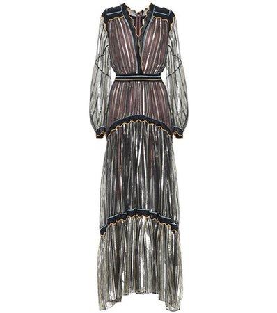 Chiffon silk-blend gown