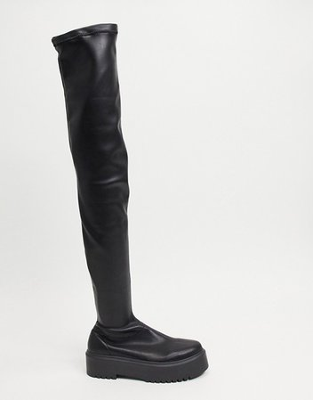 ASOS DESIGN Katie chunky over the knee boots in black | ASOS